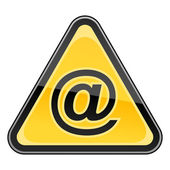 Sticker yellow hazard warning sign with commercial at symbol on white background — Stock Vector