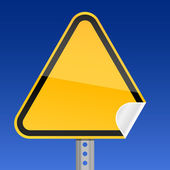 Blank yellow road warning sign with curved corner — Stock Vector
