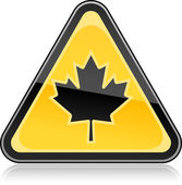 Yellow hazard warning sign with canadian maple leaf symbol on white background — Stock Vector
