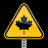 Road warning sign with Canadian maple leaf on a black background — Stock Vector