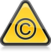 Yellow hazard warning sign with copyright symbol on white background — Stock Vector