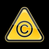 Yellow hazard warning sign with copyright symbol on black background — Vettoriale Stock