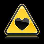 Yellow hazard warning sign with heart symbol and with reflection on black background — Vettoriale Stock