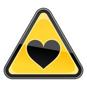 Yellow hazard warning sign with heart symbol on a white background — Stock Vector