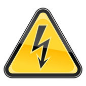 Yellow hazard warning sign with high voltage symbol on white background — Stock Vector
