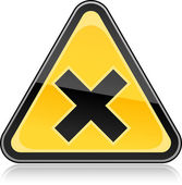 Yellow hazard warning sign with irritant symbol on white background — Stock Vector
