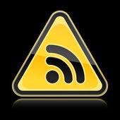 Sinal de aviso de perigo amarelo com o símbolo do rss em fundo preto — Vetor de Stock