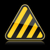 Golden yellow hazard warning sign with warning stripes on black background — Stock Vector