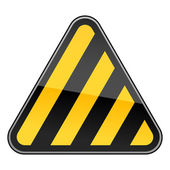 Yellow hazard warning sign with warning stripes on white background — Stock Vector