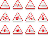 Red warning signs with symbols. Rounded triangle shape with color reflection on white background. 10 eps — Stock Vector