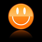Glassy orange smiley face on black — Vector de stock