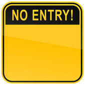 Yellow no entry blank caution sign on a white background — Stock Vector