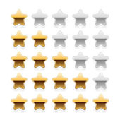 Five metal gold stars ratings with shadow and reflection on white — Stock Vector