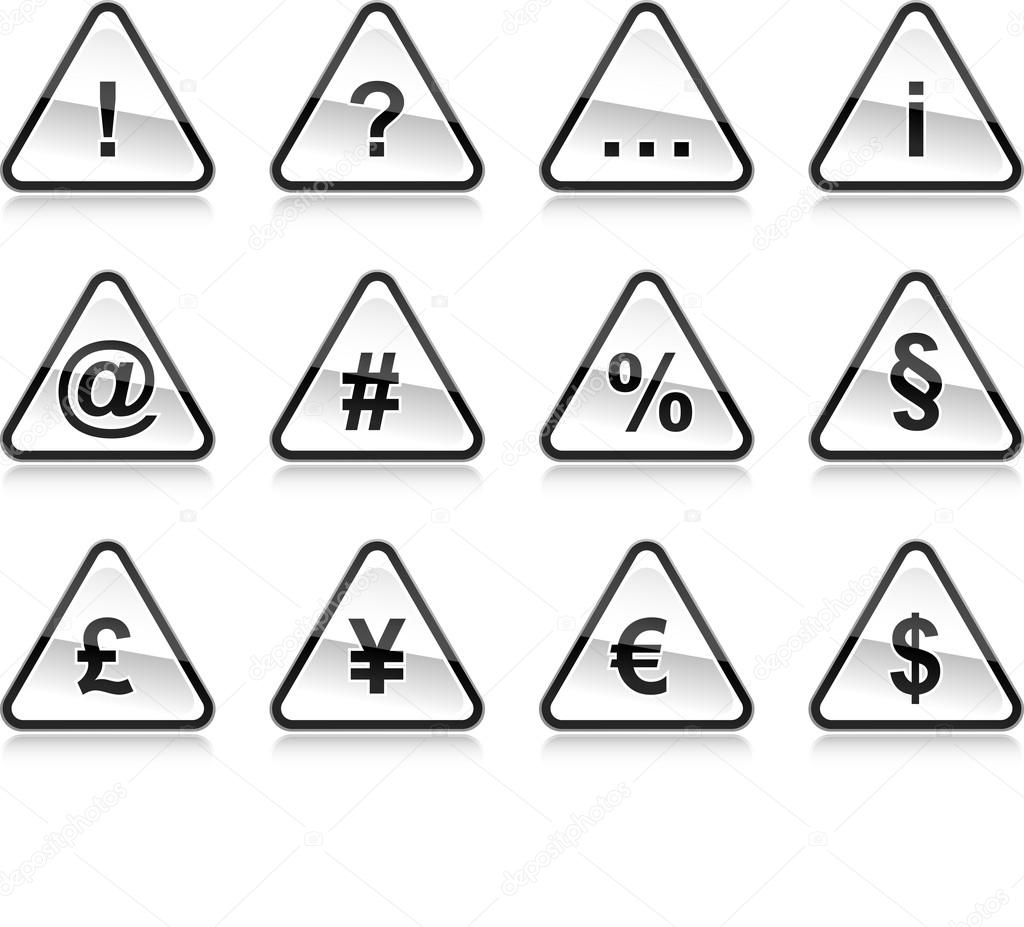 se  241 ales de advertencia negro con s  237 mbolos  redondea la forma del    Warning Signs And Symbols Black And White