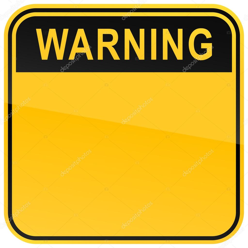 Black and yellow blank warning sign on white — Stock ...