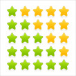 5 stars ratings web 2.0 button. Green and yellow shapes with reflection and shadow on white — Stock Vector