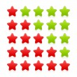 5 stars ratings web 2.0 button. Red and green shapes with shadow and reflection on white — Stock Vector