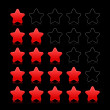 Five red star ratings web 2.0 button. Satin smooth shapes with reflection on black background — Stock Vector