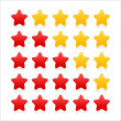 Stock Vector: 5 stars ratings web 2.0 button. Red and yellow shapes with reflection and shadow on white