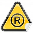 Vector de stock : Hazard warning sign with registered symbol on white background