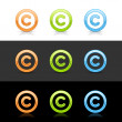 Glossy colored copyright sign web 2.0 buttons - Stock Vector