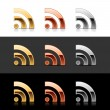 Luxory metal RSS sign web 2.0 buttons — Stock vektor