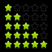 Five stars ratings web 2.0 button. Green and black shapes with reflection on black background — Stock Vector