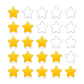 Five stars ratings web 2.0 button. Yellow and gray shapes with shadow and reflection on white — Stock Vector