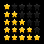 Five stars ratings web 2.0 button. Yellow and black shapes with reflection on black background — Stock Vector