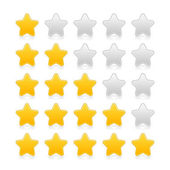 Five stars ratings with shadow and reflection on white — Stock Vector