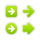 Green arrow sign web 2.0 buttons. Smooth colored stickers with shadow on white background. 10 eps — Stockvektor