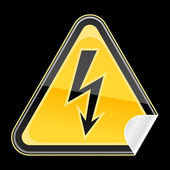 Yellow golden hazard warning sign with high voltage symbol on black background — Stock Vector