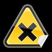 Yellow golden hazard warning sign with irritant symbol on black background — Stock Vector