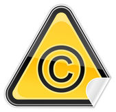 Sticker yellow hazard warning sign with copyright symbol on white background — Vector de stock