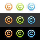 Glossy colored copyright sign web 2.0 buttons — Stock Vector