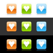Glossy colored web 2.0 buttons with heart sign — Stockvector