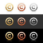 Luxory metal copyright sign web 2.0 buttons — Stock Vector