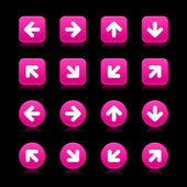 Arrow symbol web 2.0 internet buttons. Matted pink square and round shapes with reflections and shadows on black background — Stock Vector