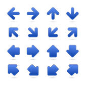 Blue arrow sign sticker web button. — Stock Vector