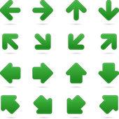 Green arrow sign sticker web button. — Stock Vector