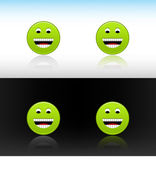 Web 2.0 button green smiley face icon. Variations color reflections on two different backgrounds — Stock Vector