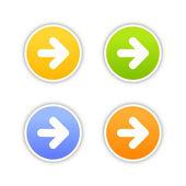 4 цветные стрелка знак веб 2.0 кнопка. круглые наклейки с тенью на белом фоне. 10 eps — Cтоковый вектор