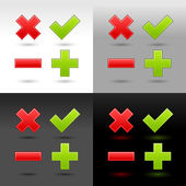 Satin smooth web button validation icons with drop shadow and reflection on four color background. This vector illustration created and saved in 8 eps — Stock Vector