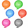 6 watercolor blank speech bubble dialog circle shape white background. Colored handmade technique aquarelle template. Empty copy-space for your text, signs or design - Foto de Stock