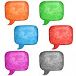 6 watercolor blank speech bubble dialog square shape on white background. Colored handmade technique aquarelle template. Empty copy-space for your text, signs or design - Foto de Stock
