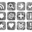 Grayscale color watercolor web buttons set with basic internet sign on white background. Aquarelle created in hand made technique. — Stock Photo #24187905