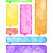 Multicolored watercolor blank rounded rectangle shape speech bubble - Foto de Stock