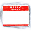 Red blank name tag sticker — Stock Photo