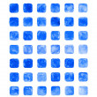Blue color watercolor blank rounded square shapes — Стоковая фотография