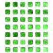 Green color watercolor blank rounded square shapes - Stock Photo
